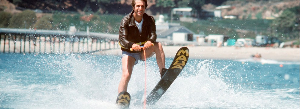 Fonzie jumping the shark, in a scene from Happy Days | 1977